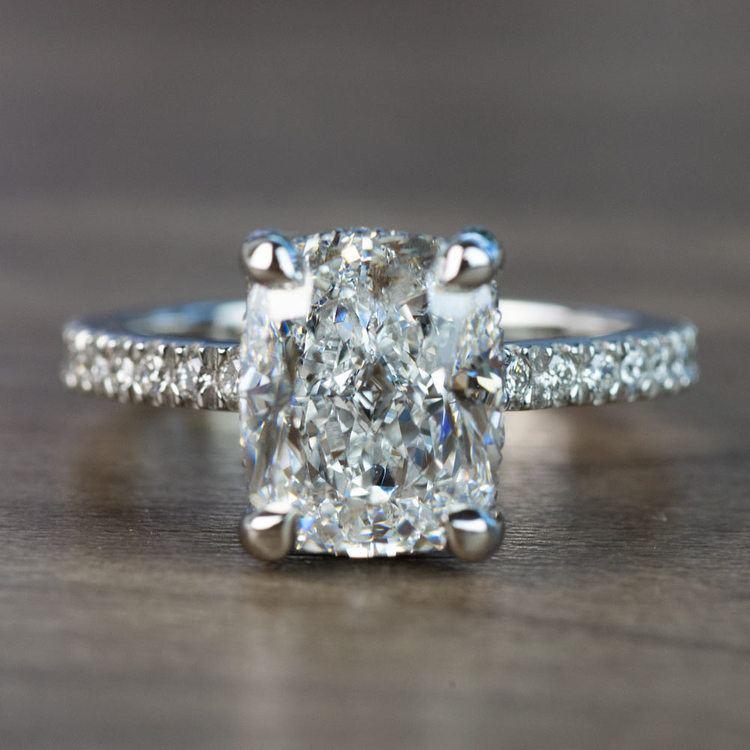 Custom 3.50 Carat Cushion Diamond Engagement Ring in Platinum