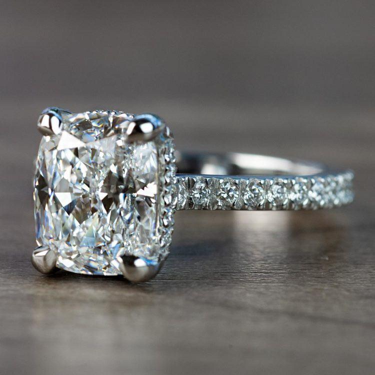 Custom 3.50 Carat Cushion Diamond Engagement Ring in Platinum angle 2