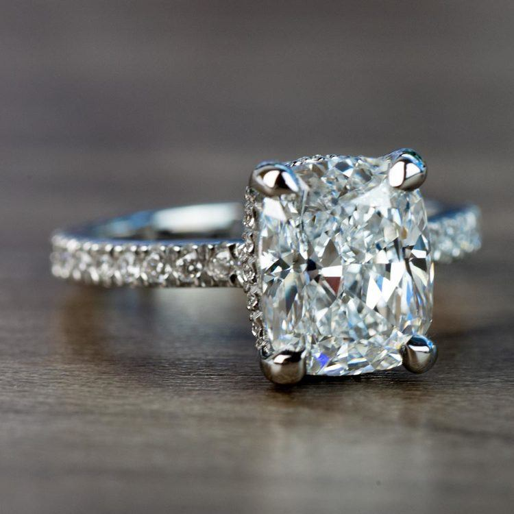 Custom 3.50 Carat Cushion Diamond Engagement Ring in Platinum angle 3