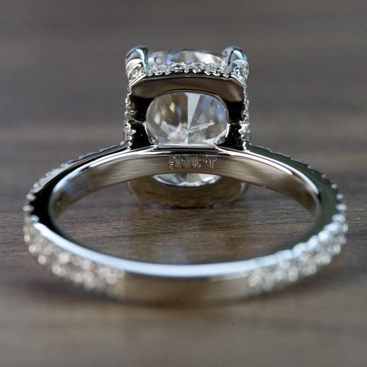 Custom 3.50 Carat Cushion Diamond Engagement Ring in Platinum angle 4