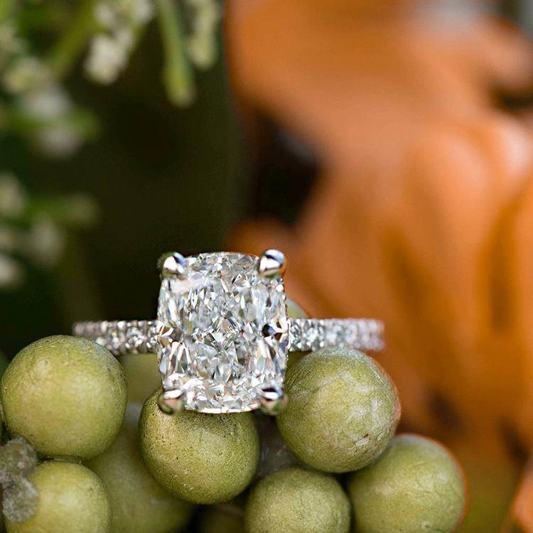 Custom 3.50 Carat Cushion Diamond Engagement Ring in Platinum angle 5
