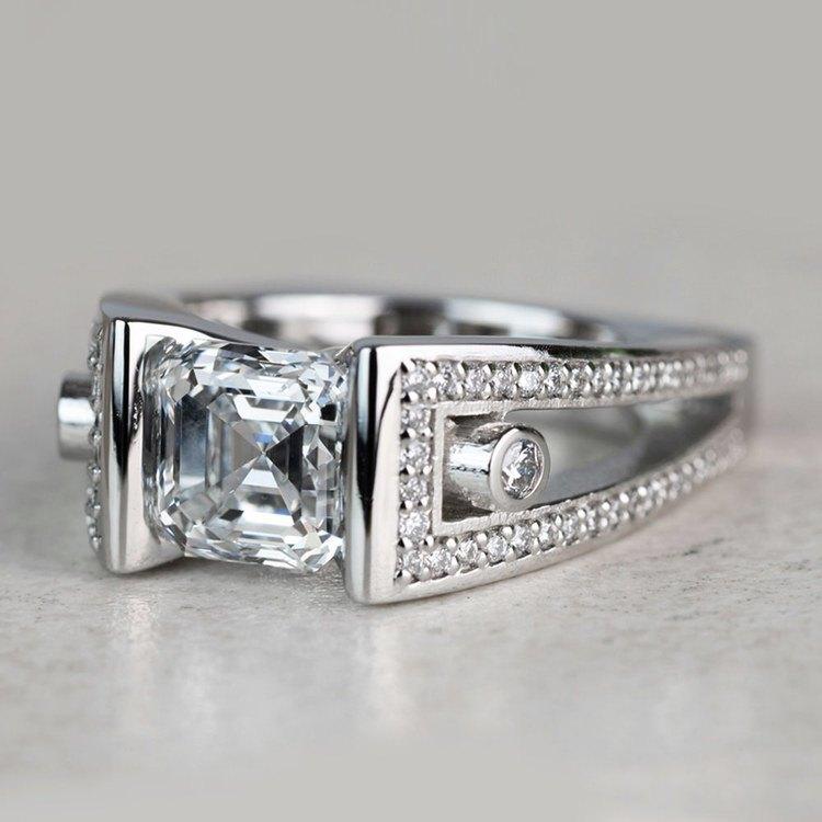 Custom 3 Carat Asscher Cut Platinum Ring angle 2
