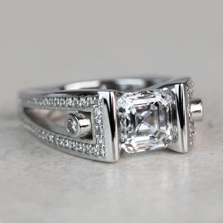 Custom 3 Carat Asscher Cut Platinum Ring angle 3