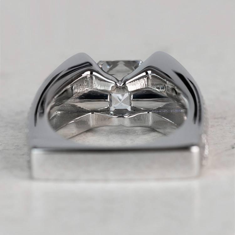 Custom 3 Carat Asscher Cut Platinum Ring angle 4