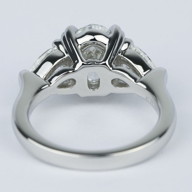 Oval Diamond Engagement Ring with Pear Diamonds in Platinum angle 4