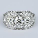 Vintage Statement Three-Diamond Diamond Engagement Ring - small