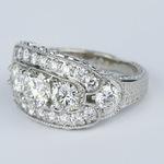 Vintage Statement Three-Diamond Diamond Engagement Ring - small angle 2