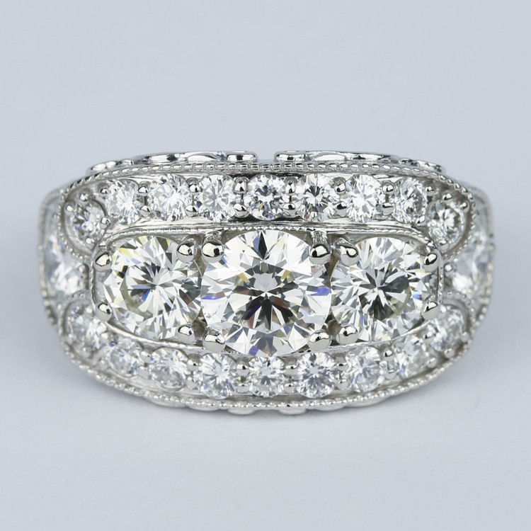 Vintage Statement Three-Diamond Diamond Engagement Ring