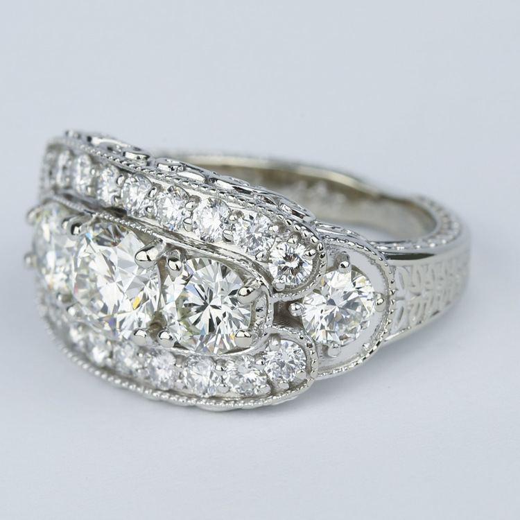 Vintage Statement Three-Diamond Diamond Engagement Ring angle 2