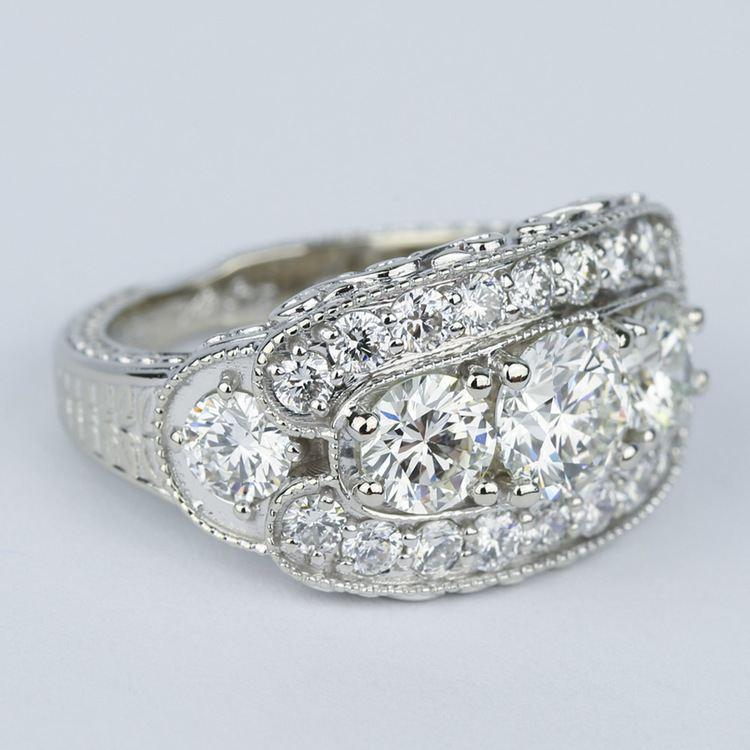Vintage Statement Three-Diamond Diamond Engagement Ring angle 3