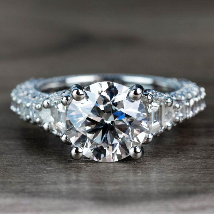 Custom 4.50 Carat Diamond Engagement Ring with Milgrain Detail