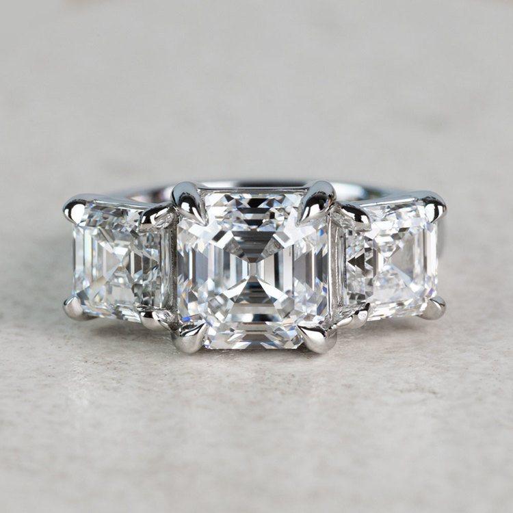 Custom 6.50 Carat Asscher Three Diamond Engagement Ring
