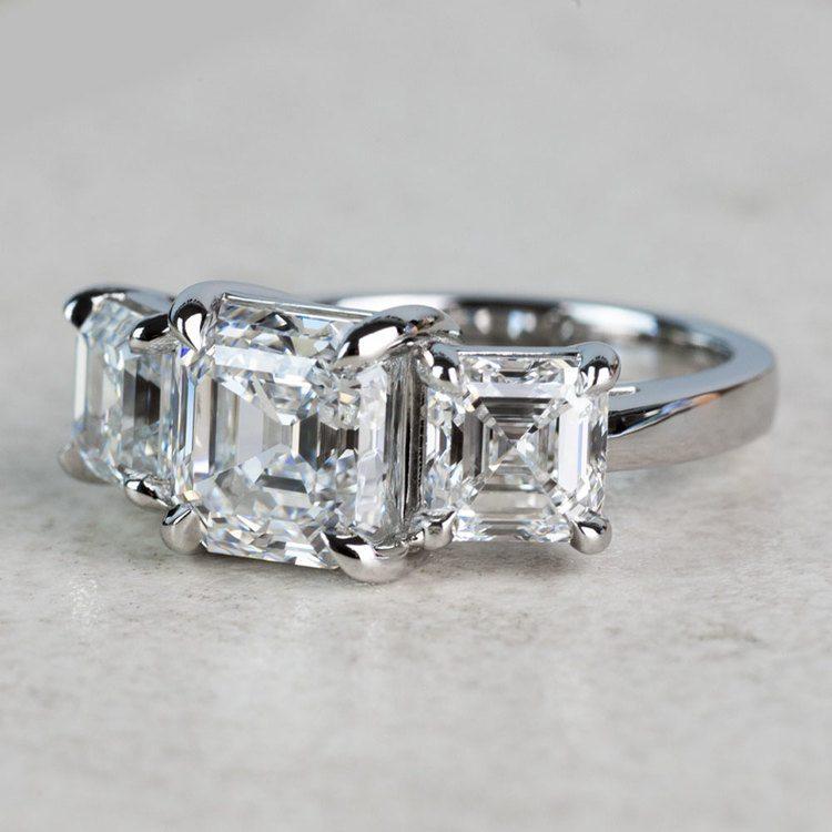 Custom 6.50 Carat Asscher Three Diamond Engagement Ring angle 2
