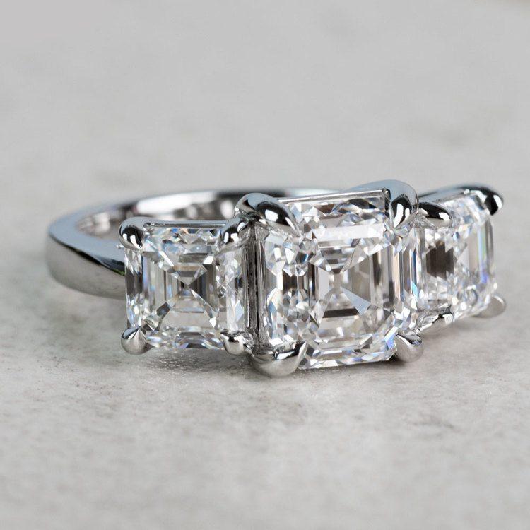Custom 6.50 Carat Asscher Three Diamond Engagement Ring angle 3