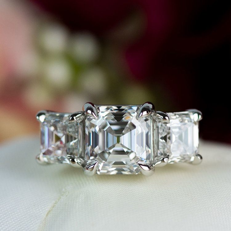Custom 6.50 Carat Asscher Three Diamond Engagement Ring angle 4