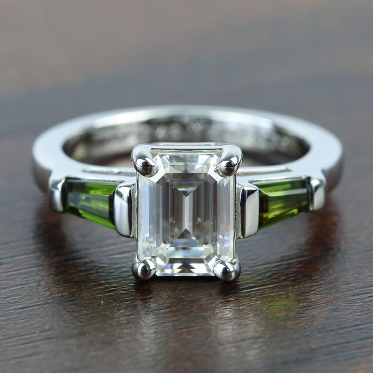 Custom 8x6mm Forever One Emerald Moissanite Engagement Ring