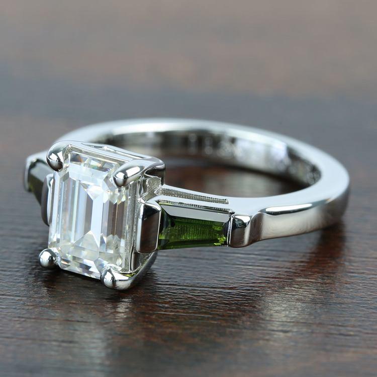 Custom 8x6mm Forever One Emerald Moissanite Engagement Ring angle 2
