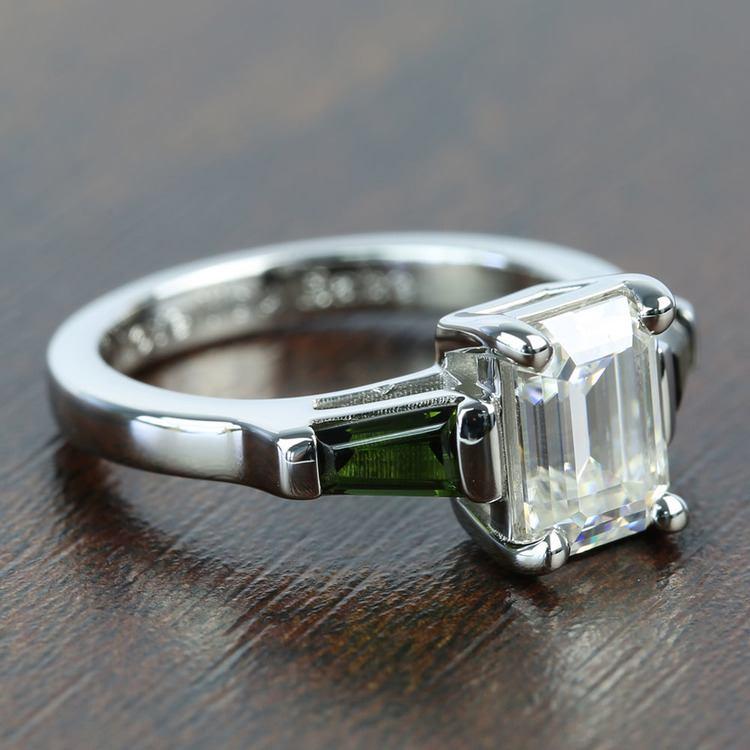 Custom 8x6mm Forever One Emerald Moissanite Engagement Ring angle 3