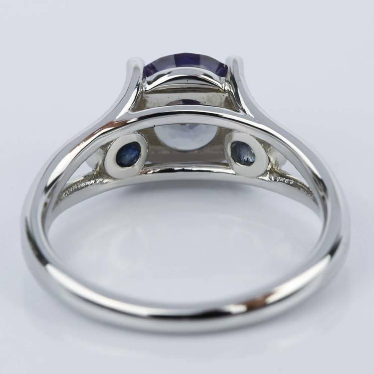 Custom Alexandrite and Sapphire Gemstone Engagement Ring angle 4