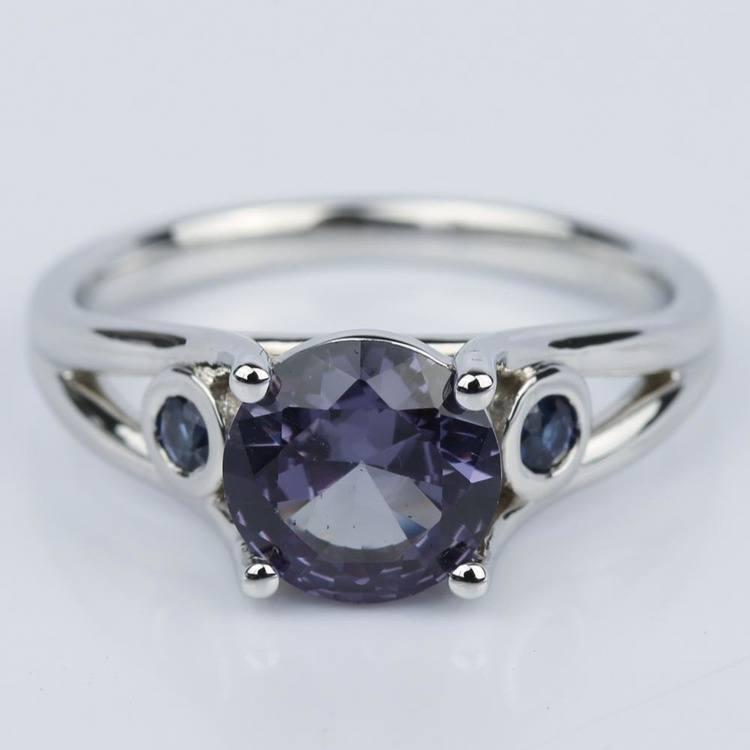 Custom Alexandrite and Sapphire Gemstone Engagement Ring