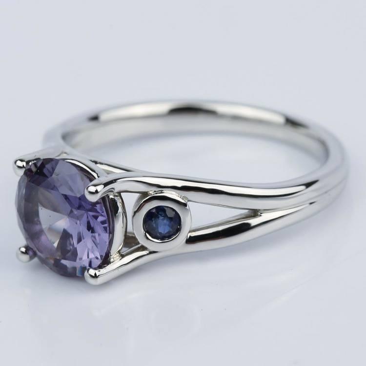 Custom Alexandrite and Sapphire Gemstone Engagement Ring angle 2