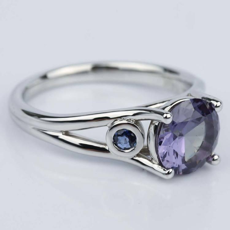 Custom Alexandrite and Sapphire Gemstone Engagement Ring angle 3
