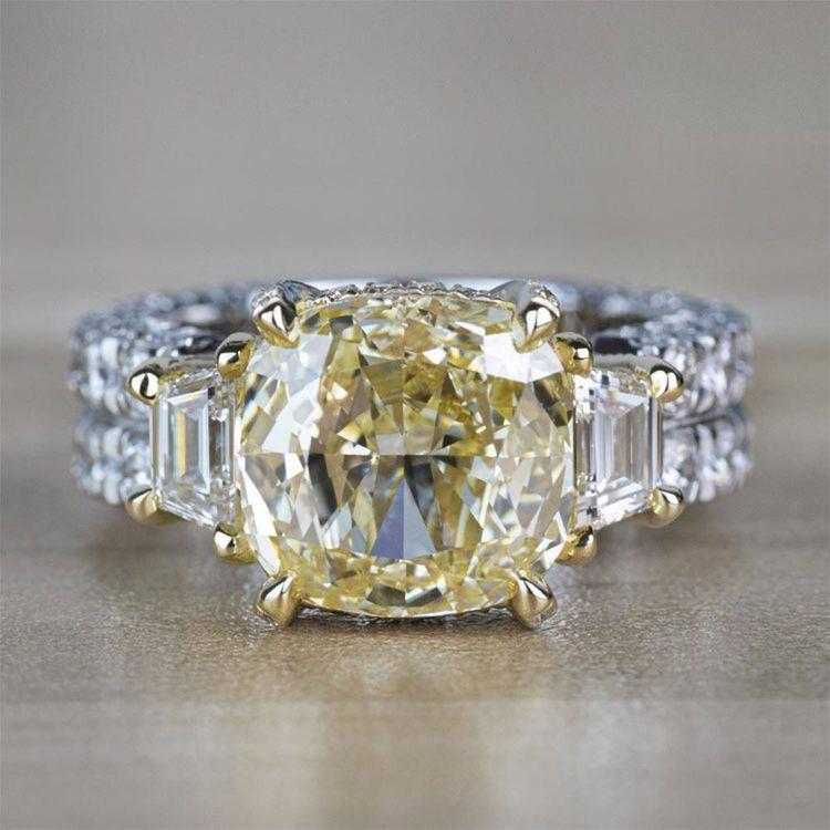 Custom Antique 7.00 Carat Yellow Diamond Three Stone Engagement Ring