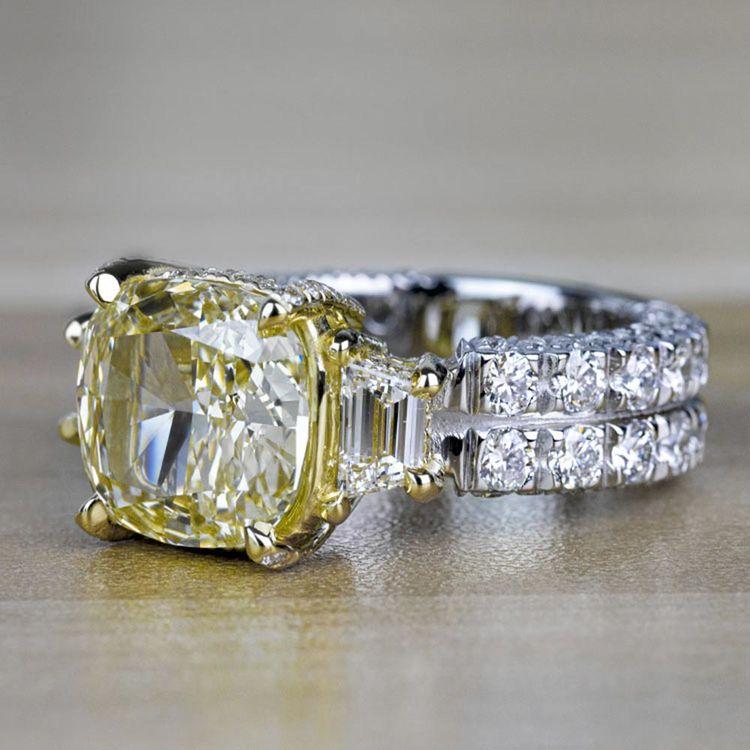 Custom Antique 7.00 Carat Yellow Diamond Three Stone Engagement Ring angle 2