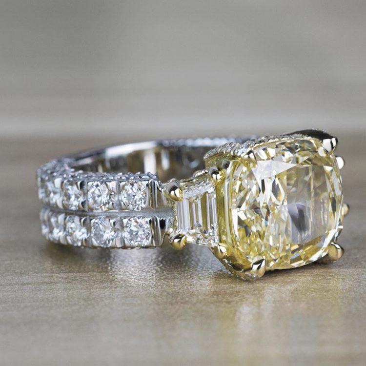 Custom Antique 7.00 Carat Yellow Diamond Three Stone Engagement Ring angle 3
