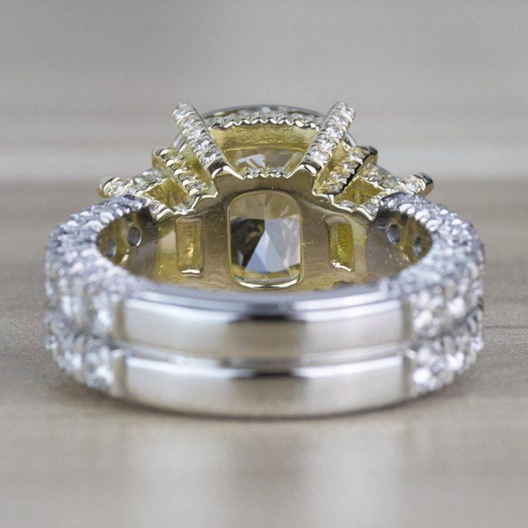 Custom Antique 7.00 Carat Yellow Diamond Three Stone Engagement Ring angle 4