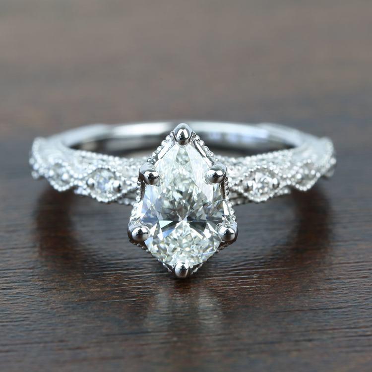 Custom Antique Milgrain Pear Diamond Engagement Ring