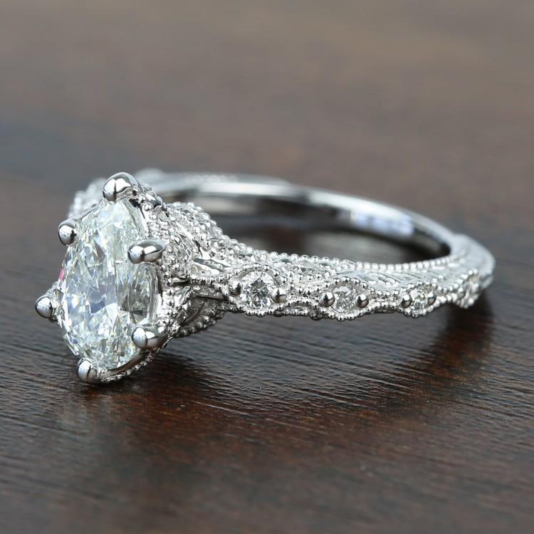 Custom Antique Milgrain Pear Diamond Engagement Ring angle 2