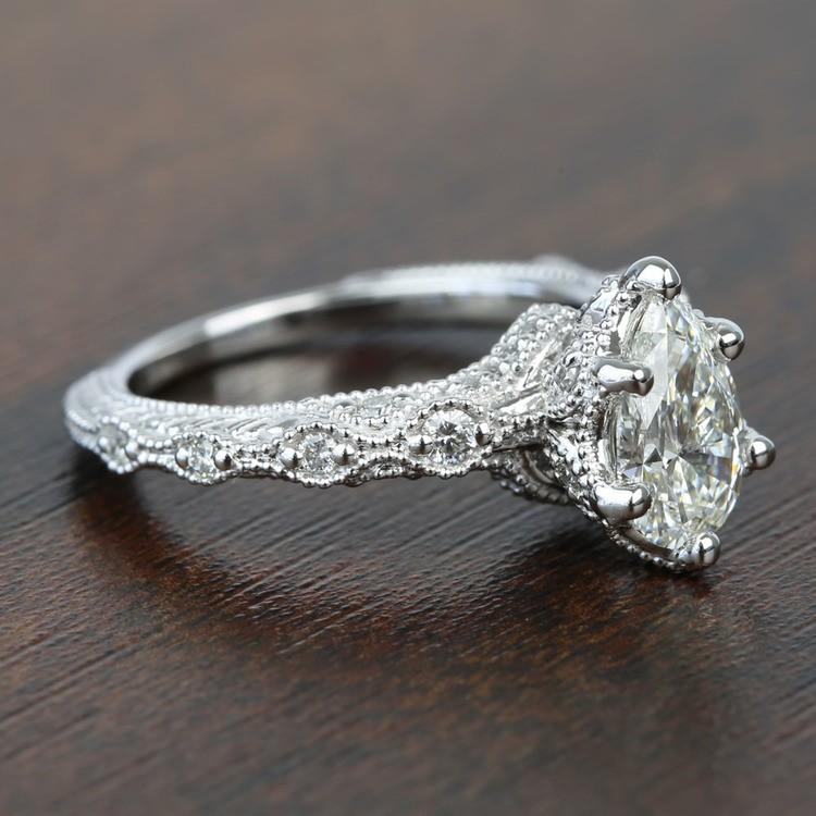 Custom Antique Milgrain Pear Diamond Engagement Ring angle 3