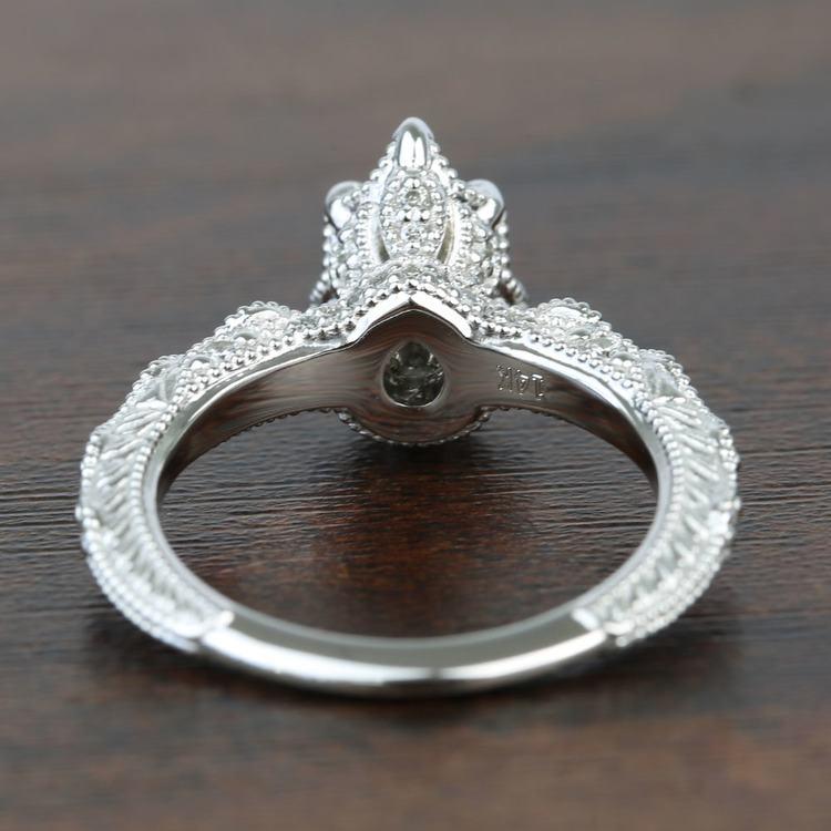 Custom Antique Milgrain Pear Diamond Engagement Ring angle 4