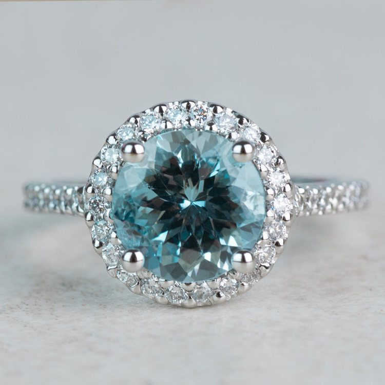 Custom Aquamarine Halo Diamond Engagement Ring