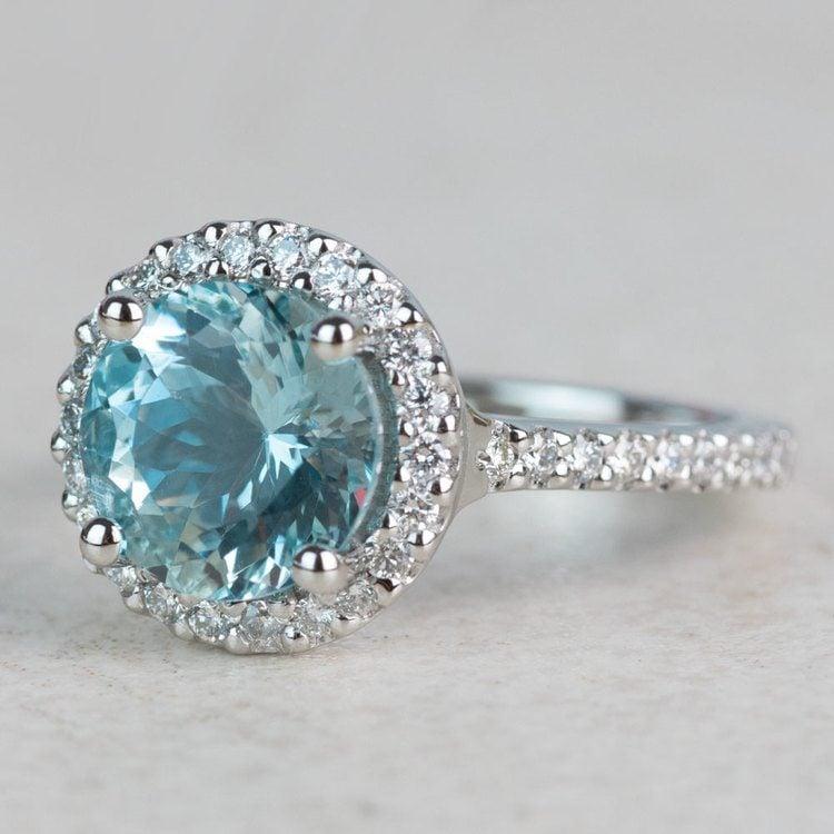 Custom Aquamarine Halo Diamond Engagement Ring angle 2