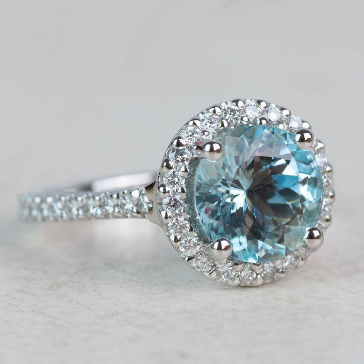 Custom Aquamarine Halo Diamond Engagement Ring angle 3
