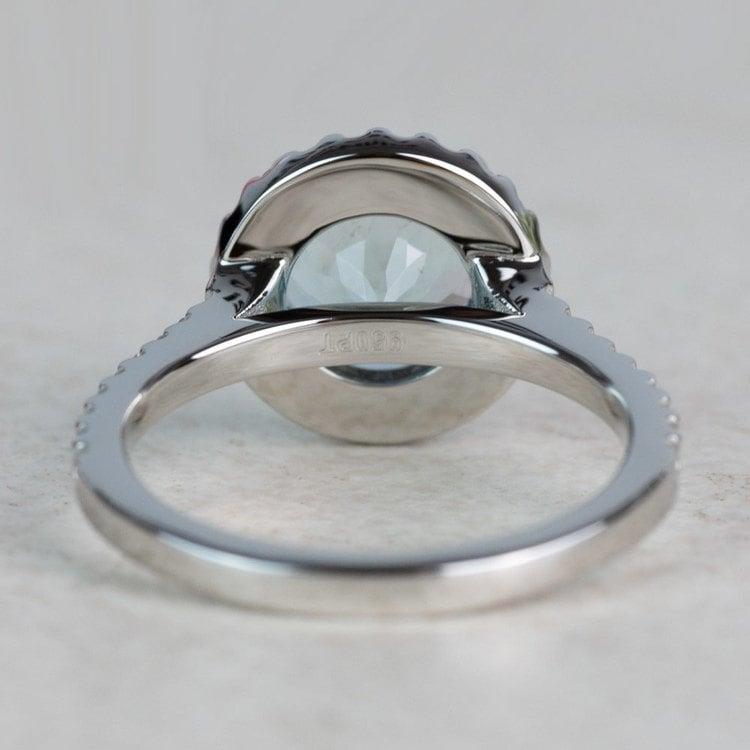 Custom Aquamarine Halo Diamond Engagement Ring angle 4
