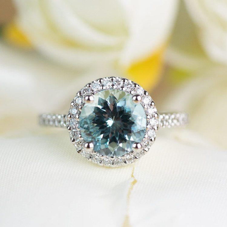Custom Aquamarine Halo Diamond Engagement Ring angle 5