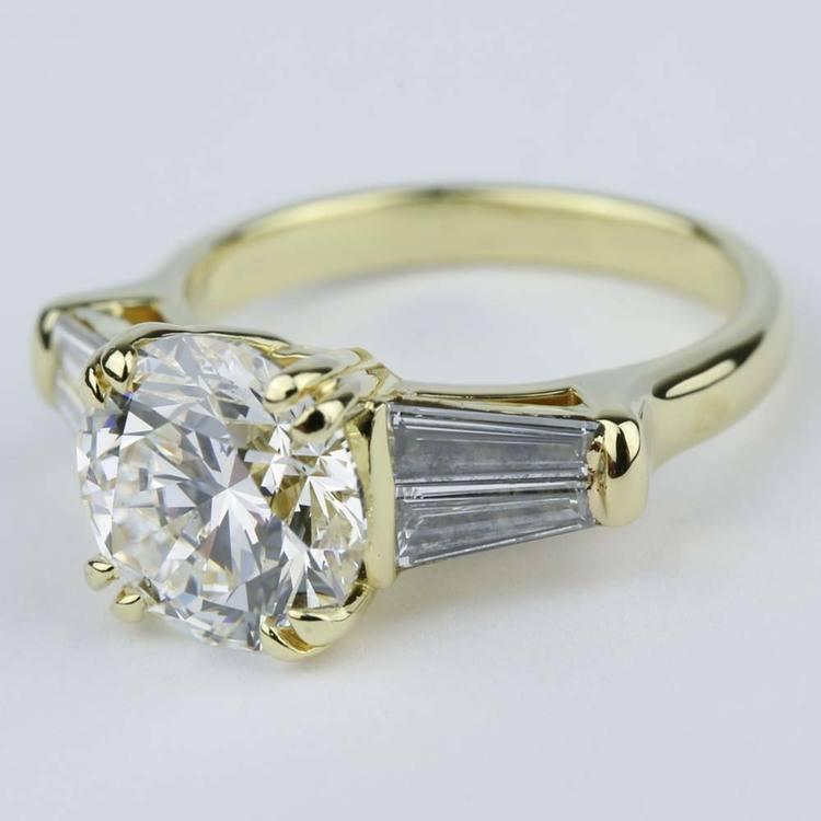 Custom Double-Baguette Diamond Engagement Ring (3 Carat) angle 2