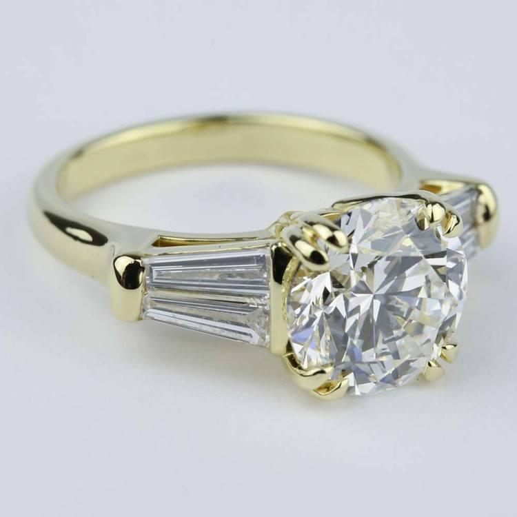 Custom Double-Baguette Diamond Engagement Ring (3 Carat) angle 3