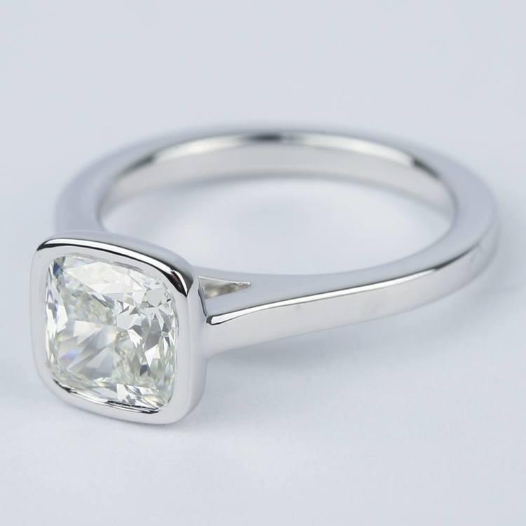 2 Carat Cushion Diamond Bezel Solitaire Ring angle 2