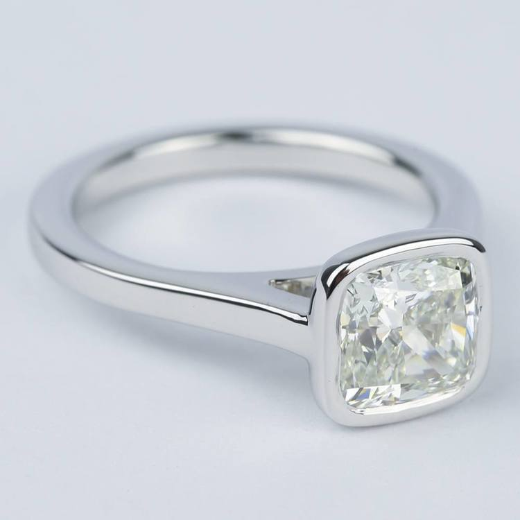 2 Carat Cushion Diamond Bezel Solitaire Ring angle 3