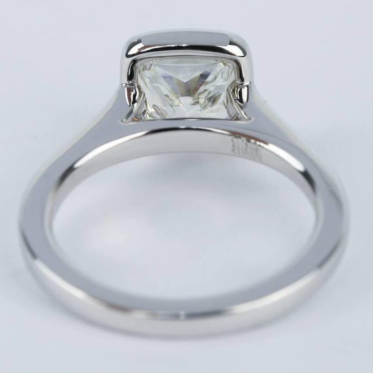 2 Carat Cushion Diamond Bezel Solitaire Ring angle 4
