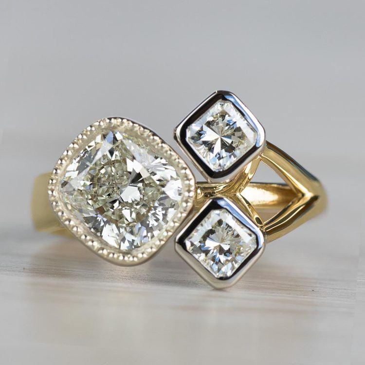 Custom Bezel Cushion Cut Diamond Three Stone Engagement Ring