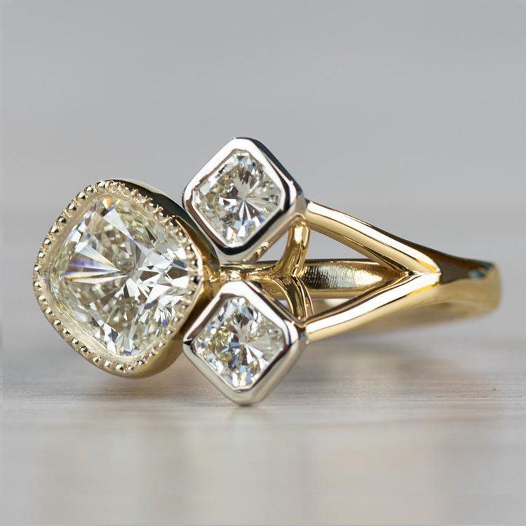 Custom Bezel Cushion Cut Diamond Three Stone Engagement Ring angle 2