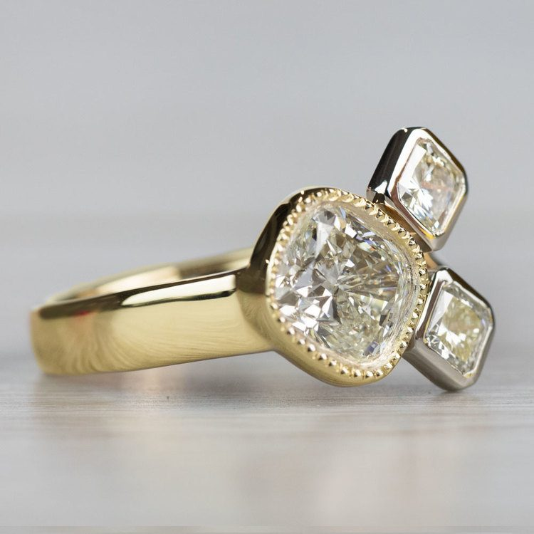 Custom Bezel Cushion Cut Diamond Three Stone Engagement Ring angle 3