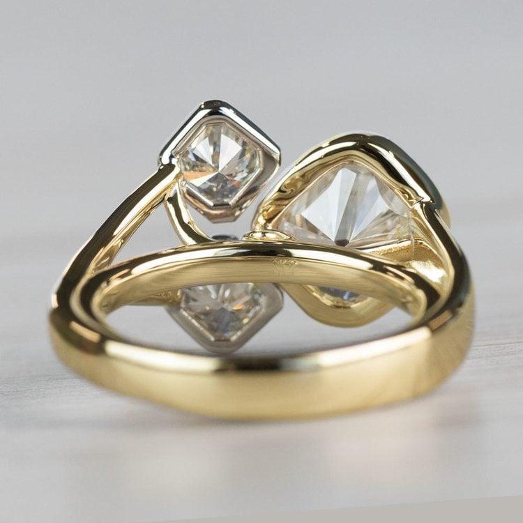 Custom Bezel Cushion Cut Diamond Three Stone Engagement Ring angle 4