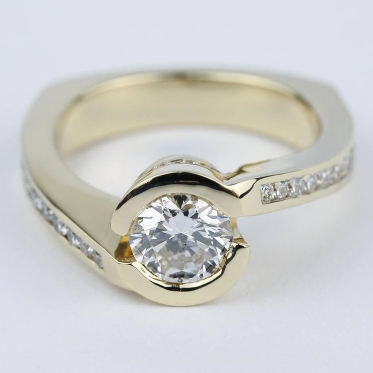 Custom Bezel Diamond Engagement Ring in Yellow Gold (0.90 ct.)