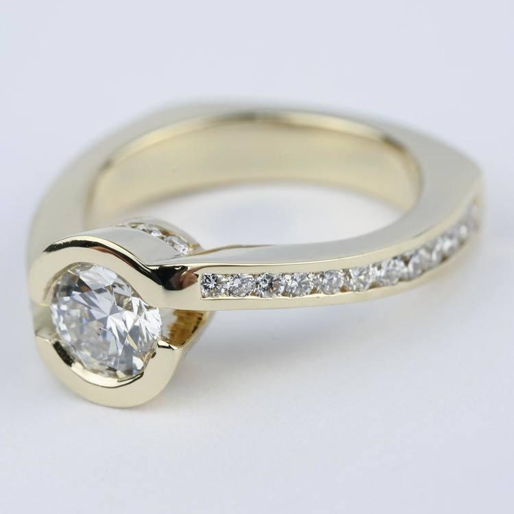 Custom Bezel Diamond Engagement Ring in Yellow Gold (0.90 ct.) angle 2